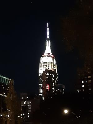 Aangekomen in NY. Op zich nog niet zo laat (even voor 7'en) toch al wel erg donker. Mooi zicht op de Empire Tower.
