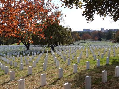 """Militaire begraafplaats """"Arlington"""". Hier spreekt het nationalisme van de V.S. en is door z'n grootte, wijdsheid en netheid erg indrukwekkend. Met slechts een fractie gezien van de in totaal 400.000 graven."""