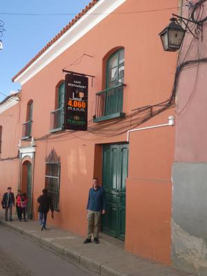 Overnachting in Potosi. 4060m. hoogte, zoals de naam van het café aangeeft.
