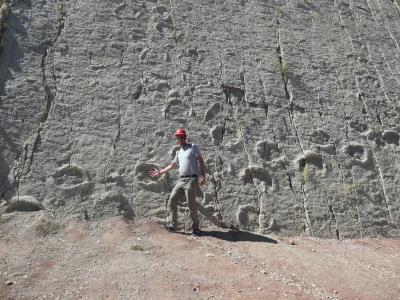 In het dinopark bij 1 van de 5000 voetstappen (65 miljoen jaar oud)