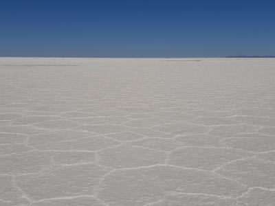 Uyuni zoutvlakte, ondanks de zon en strakblauwe lucht best frisjes (10°)